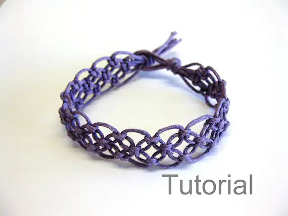 Lacy Macrame Bracelet Pattern Tutorial Pdf Purple Step By Step