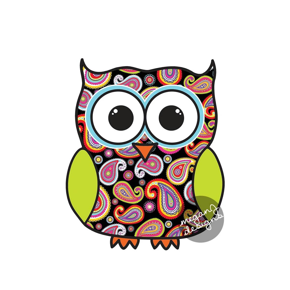 Colorful Pictures Of Owls Black Paisley Owl Car Decal Colorful Cute Owl Bumper Sticker