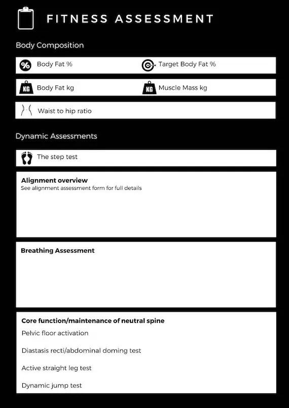 fitness assessment template - Josemulinohouse