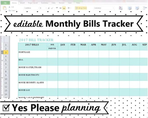 monthly bill organizer excel - Onwebioinnovate