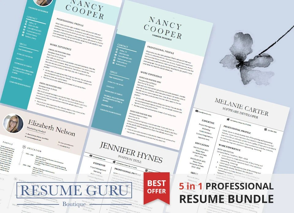 Professional Resume Template Bundle CV Package with Cover - Best Graphic Design Resumes