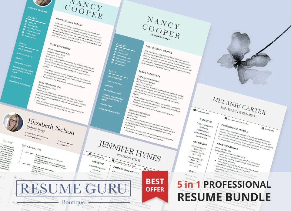Professional Resume Template Bundle CV Package with Cover - resume design