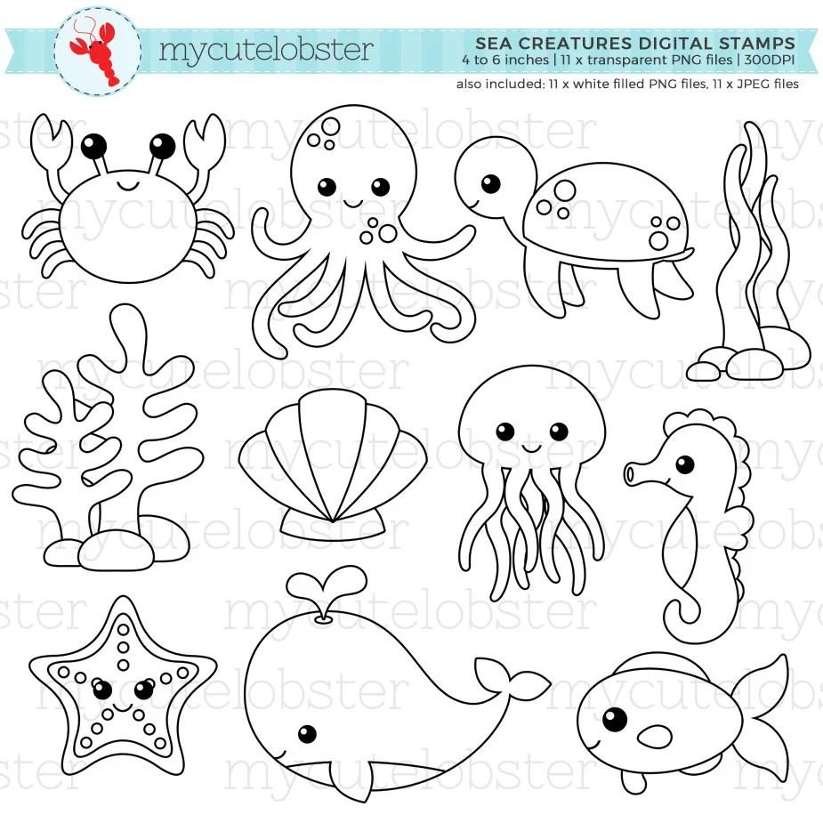 sea creature outlines