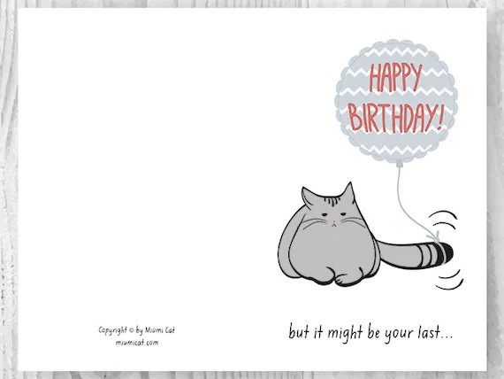 Funny 60th Birthday Cards Printable Cat 60 Card