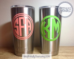 Dainty Yeti Yeticup Yeti Rambler Monogram Decal Only Monogram Decal Yeti Personalized Vinyl Sticker Monogram Decal Yeti Yeti Personalized Vinyl Sticker