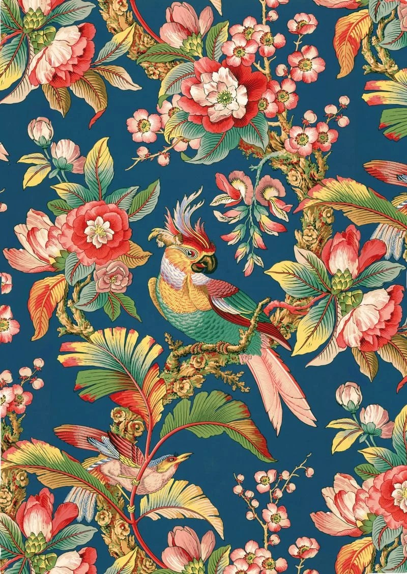 antique french chinoiserie wallpaper tropical birds peony