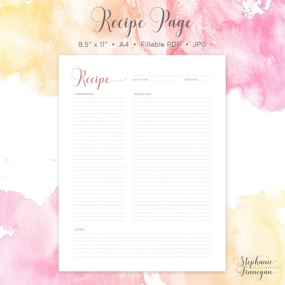 blank recipe sheets - Apmayssconstruction