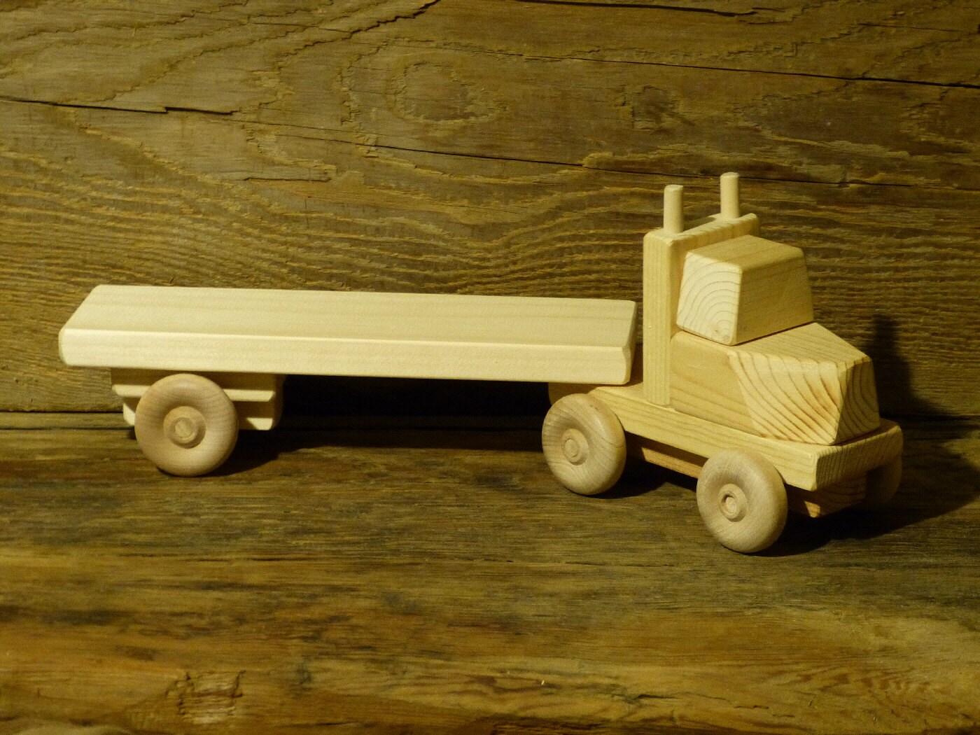 Handmade Wooden Toy Truck Flatbed Trailer Green Ecofriendly