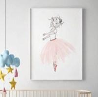 Ballerina wall art SALE PRINT Girls Room Decor Pink tutu