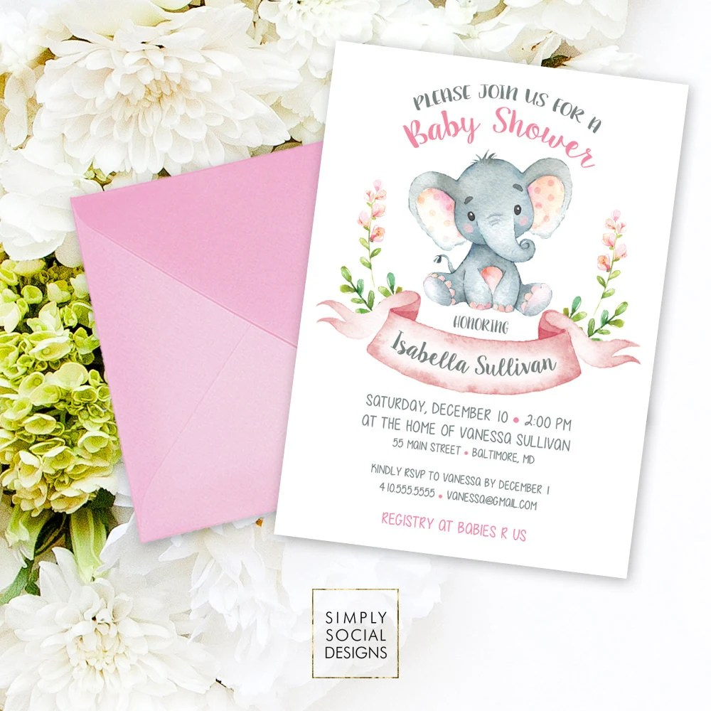 Marvelous Elephant Baby Shower Invitation Floral Pink Boho Elephant A Girlfloral Baby Shower Invitation Watercolor Calligraphy Printable Elephant Baby Shower Invitation Floral Pink Boho Elephant A wedding invitation Elephant Baby Shower Invitations