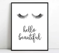 Eyelashes print Eyelash printable art hello beautiful wall art