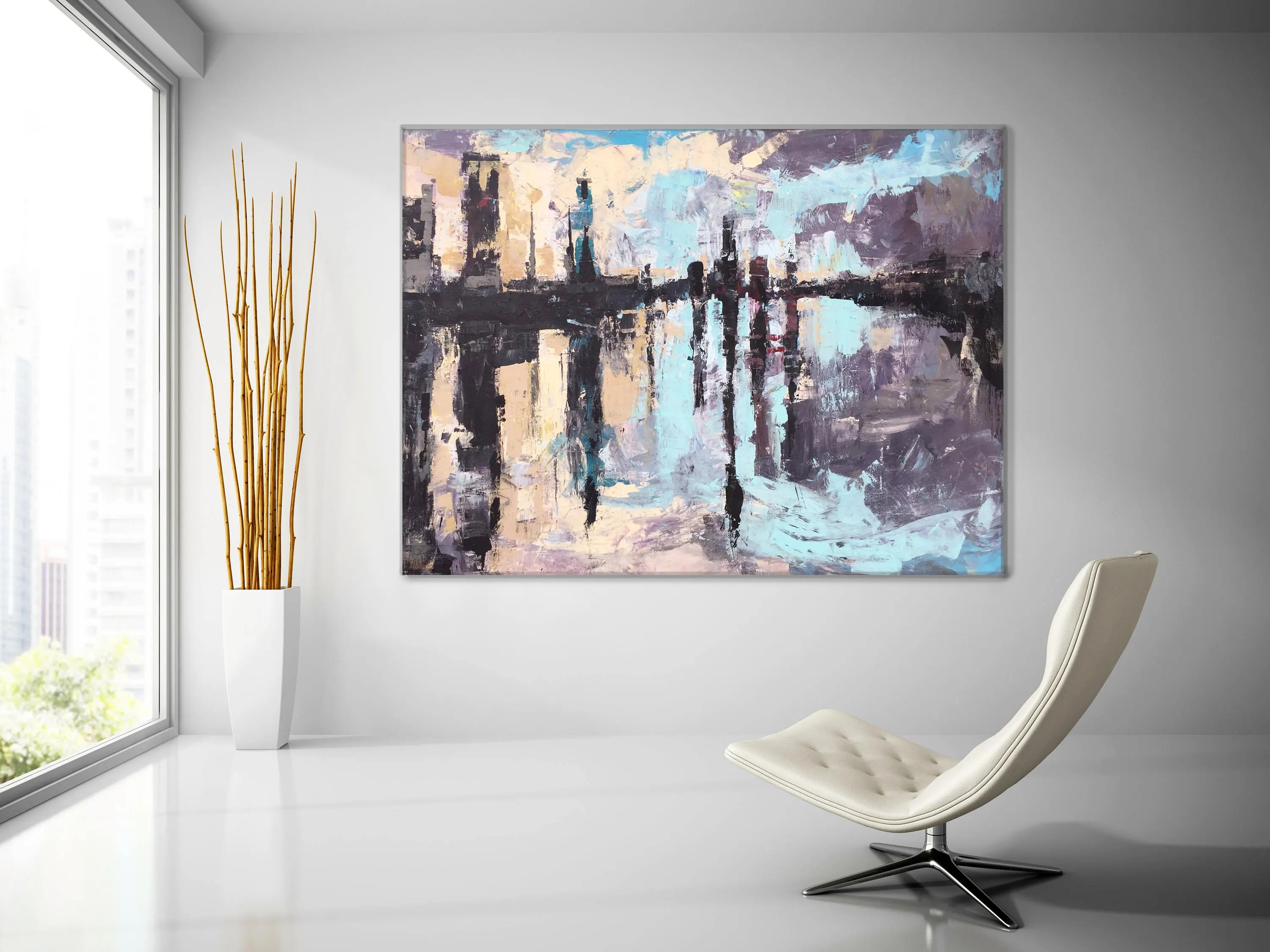 Sterling Huge Abstract Canvas Painting Large Canvas Art New York Paintingabstarct Lanscape Cityscape Wall Decor Decor Huge Abstract Canvas Painting Large Canvas Art New York art Abstract Canvas Art