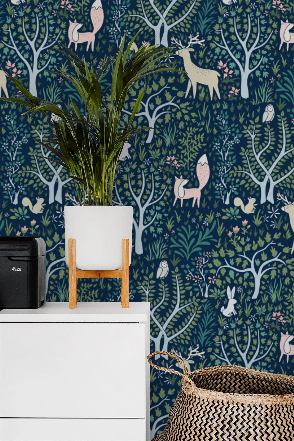 Woodland Forest Navy removable wallpaper / Enchanted animals
