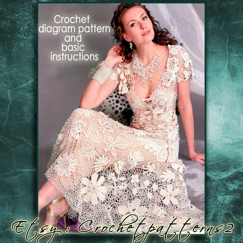 Instant Download Wedding Dress crochet pattern. English