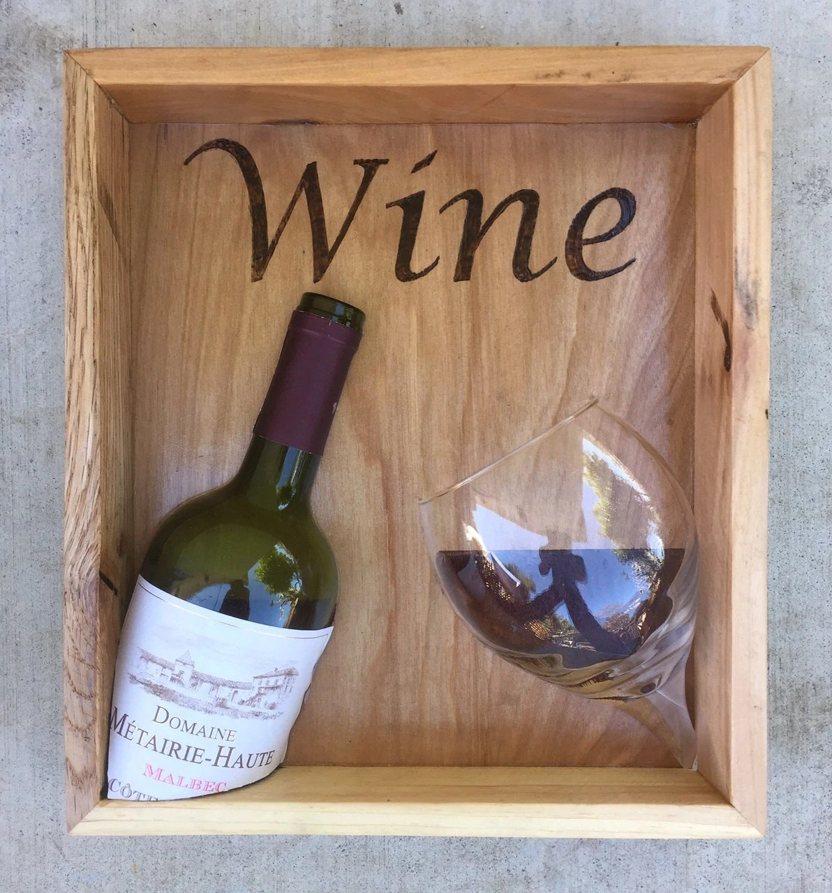 Giant Wine Glass Decorations Wine Shadow Box Wine Art Wooden Wine Art Mixed Media