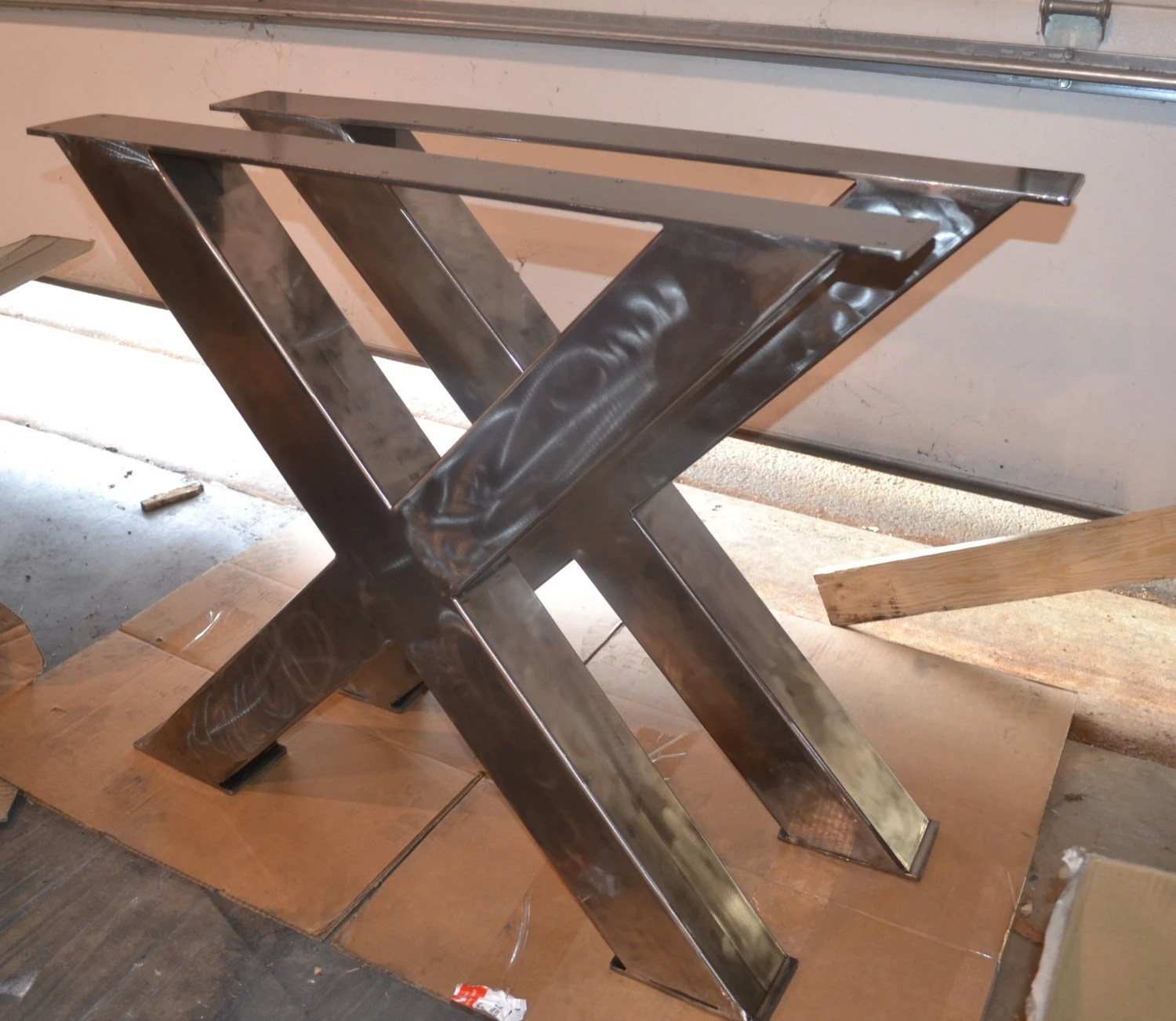 Different Type De Bois Pour Meuble Metal Table Legs Industrial X-frame Style Any Size And