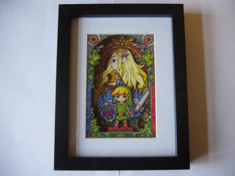 Legend Of Zelda Stained Glass 3d Shadow Box Diorama Art Super