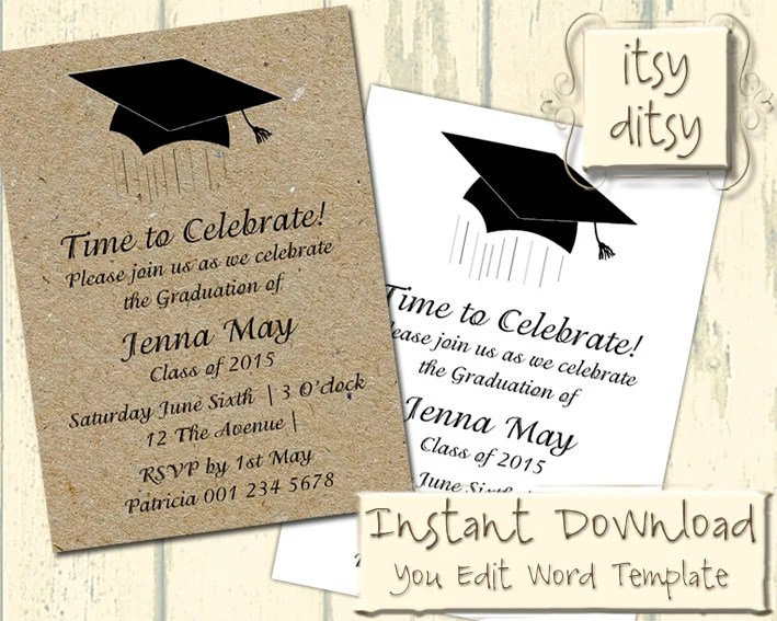 Graduation invitation template with a Mortarboard design - how to make a party invitation on microsoft word