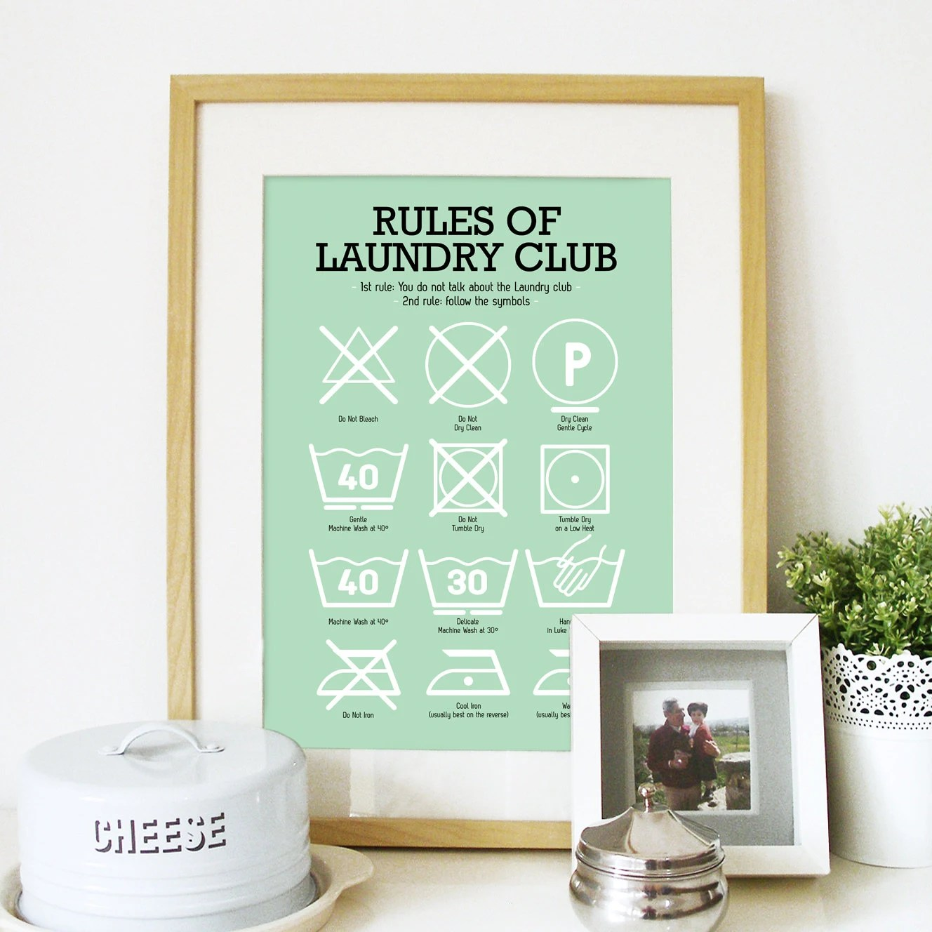 Decorative Laundry Items Laundry Room Poster With Laundry Pictograms In Light Mint