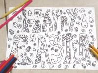pasqua disegno da colorare biglietto auguri happy easter
