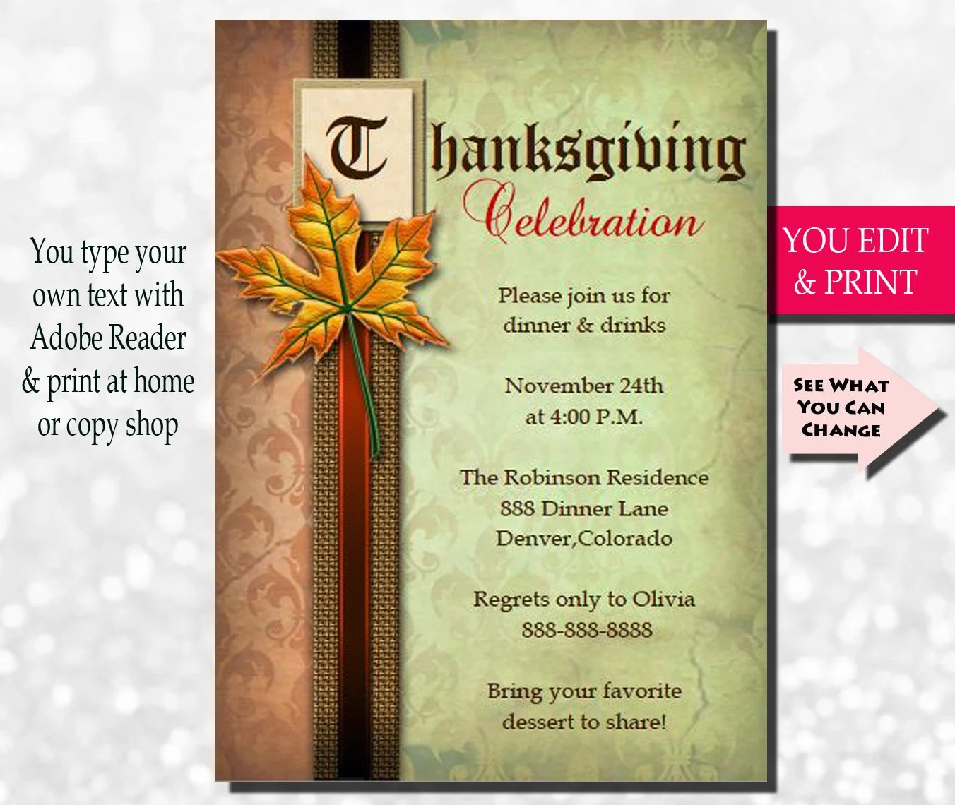 printable thanksgiving invitations
