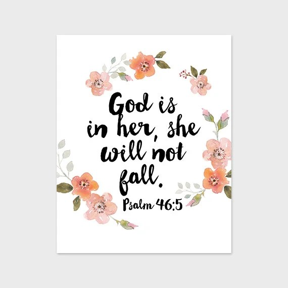 God Is Within Her She Will Not Fall Wallpaper Scripture Art Print 8x10 Printable God Is In Her She Will