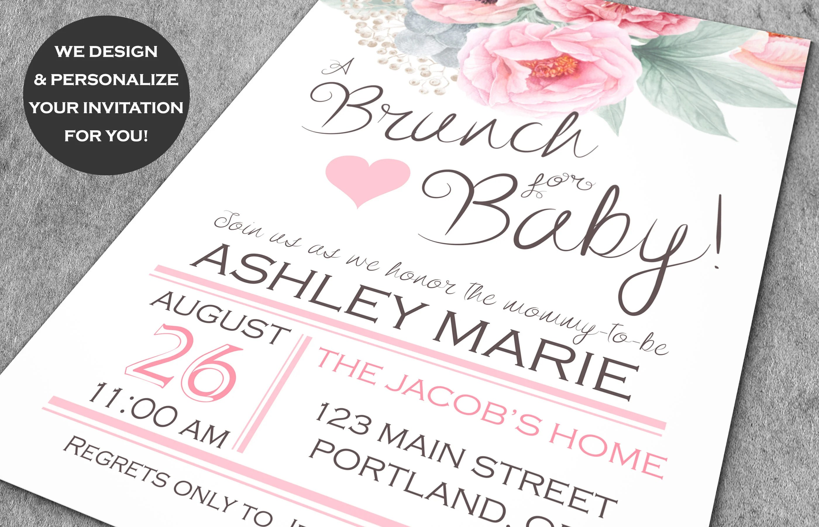 Floral Baby Shower Invitation Brunch For Baby Invitation - engagement invitations online templates