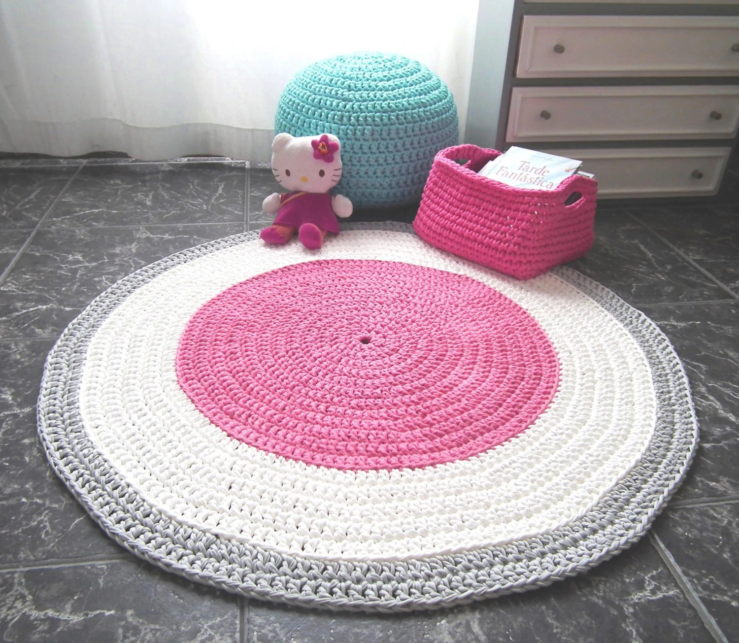 Baby Teppich Rosa Crochet Pink Nursery Rug Girls Room Round Rug Baby Cotton