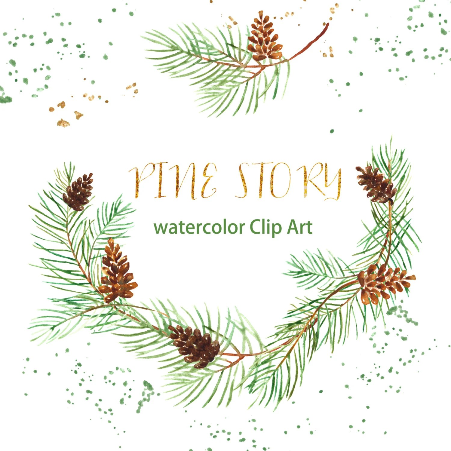 Wedding Invitation Card With Name Editing Pine Watercolor Clip Art Hand Drawn. Winter Watercolor Light