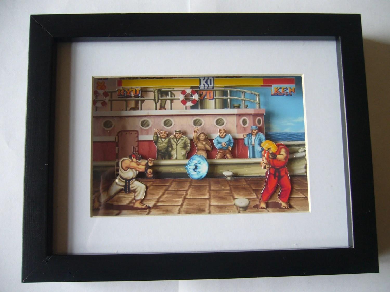 Street Fighter 2 3d Shadow Box Diorama Art Arcade Snes