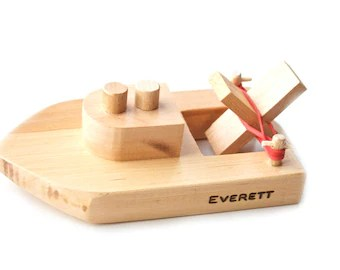 Wooden Toy Boat With Peg People Kids Wood Bath Toy Organic