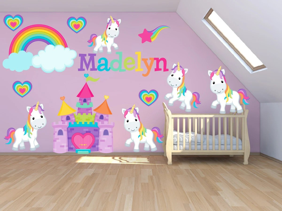 Rainbow Kids Rooms Wall Decals For Kids Bedroom Pony Wall Decal Princess