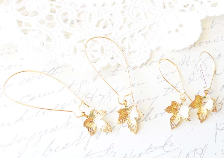 Gold Maple Leaf Earrings Maple Leaf Dangle Earrings Gold