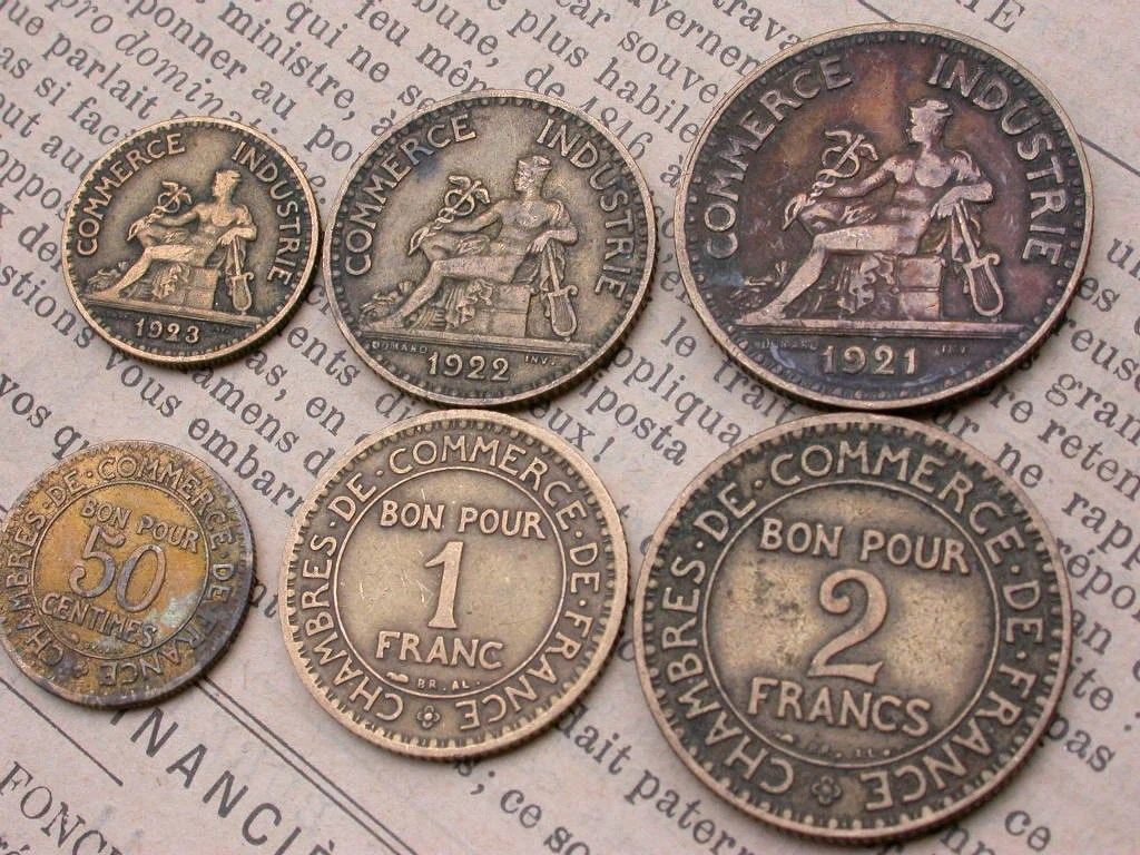 6PCS French old coins vintage coins 1920s to 1939s collectible