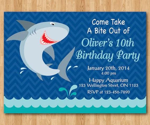 Shark Birthday Invitation Theme Party Invite