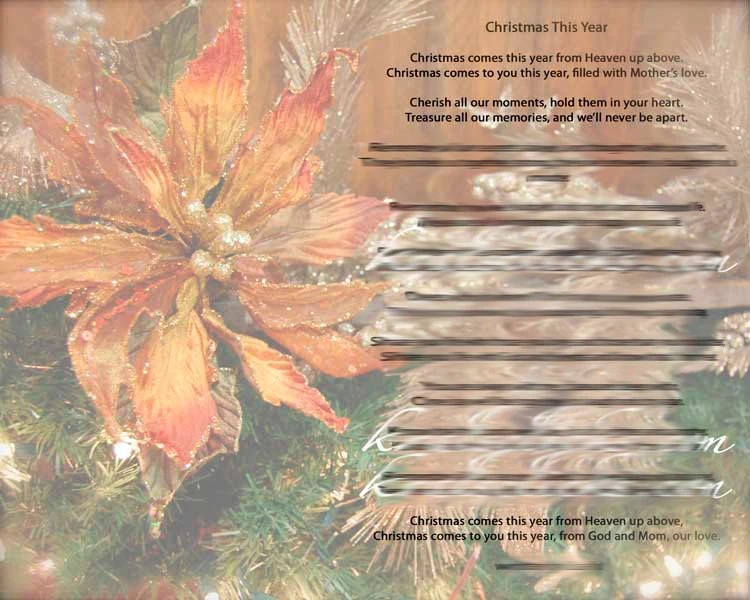 Christmas Poem Print for those that have lost their Mom or - family reunion invitation cards