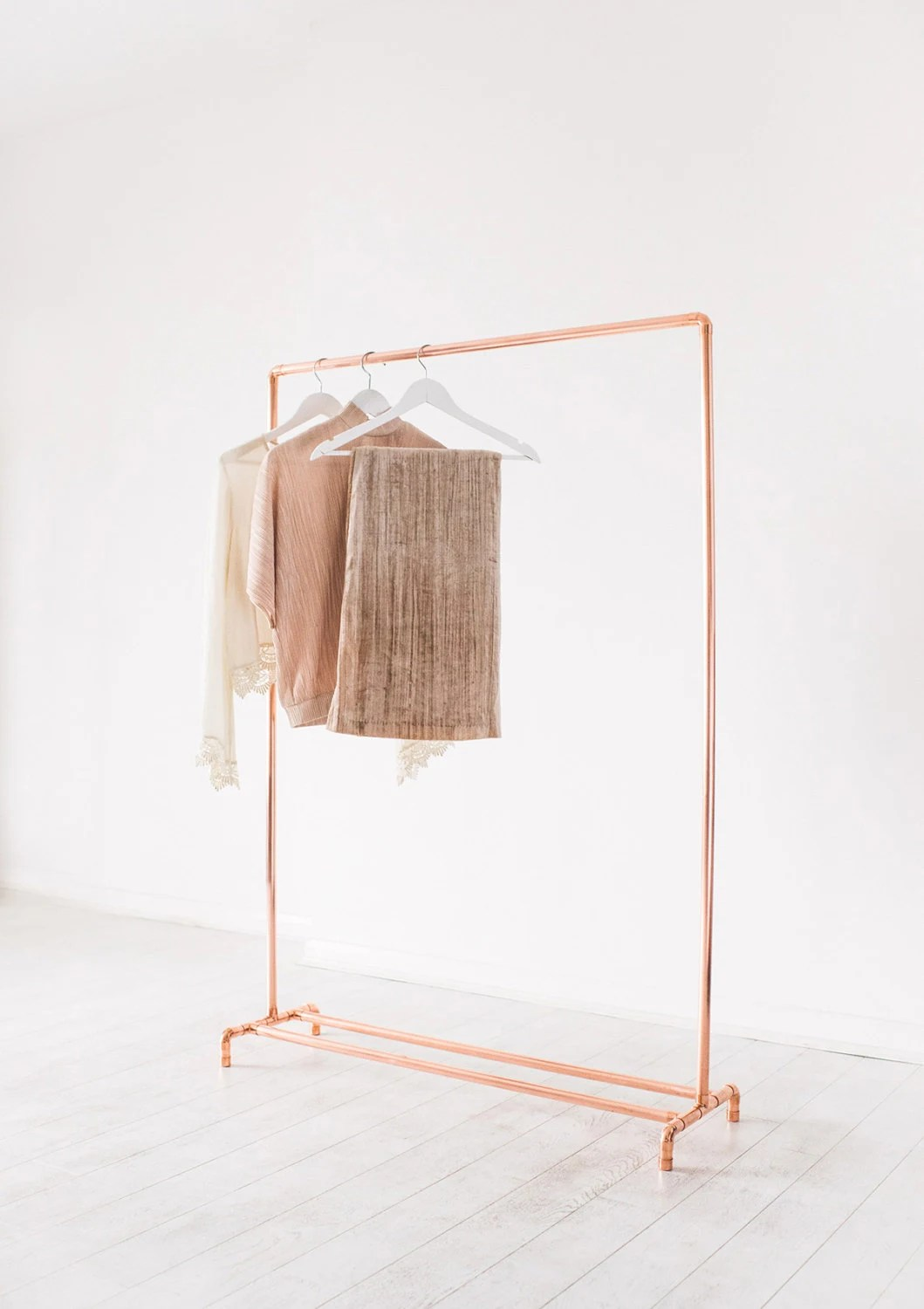 Copper Pipe Clothing Rail Garment Rack Clothes Storage