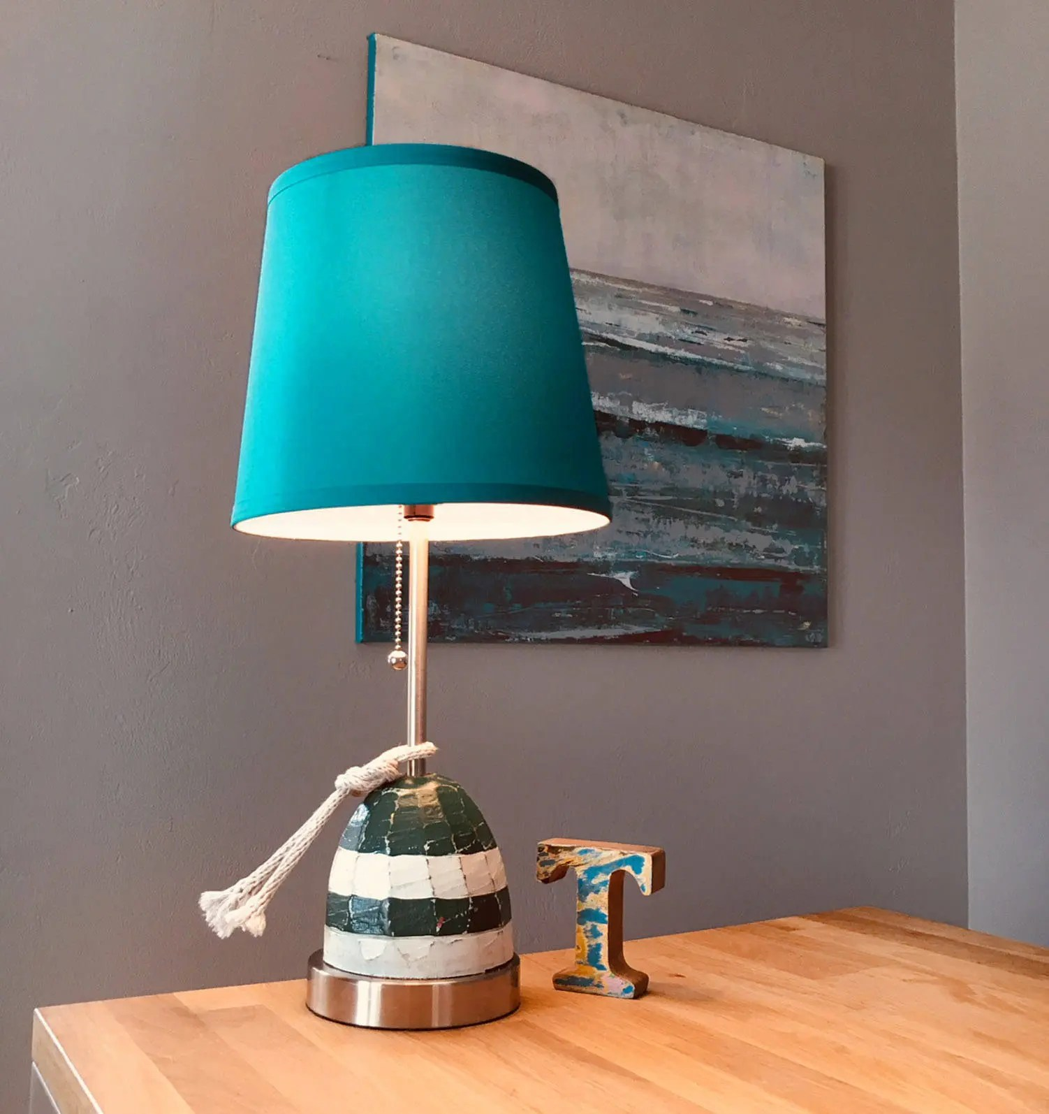 Lighthouse Touch Lamp Nautical Accent Lamp Turquoise Wood Buoy Rope Beach Decor