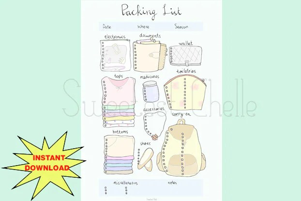 holiday packing checklist template - Leonescapers