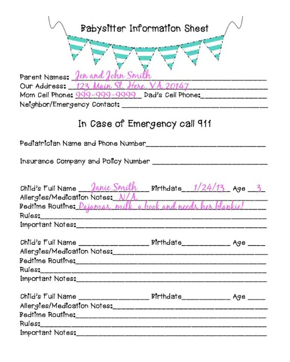 babysitter names - Minimfagency - babysitting information sheets