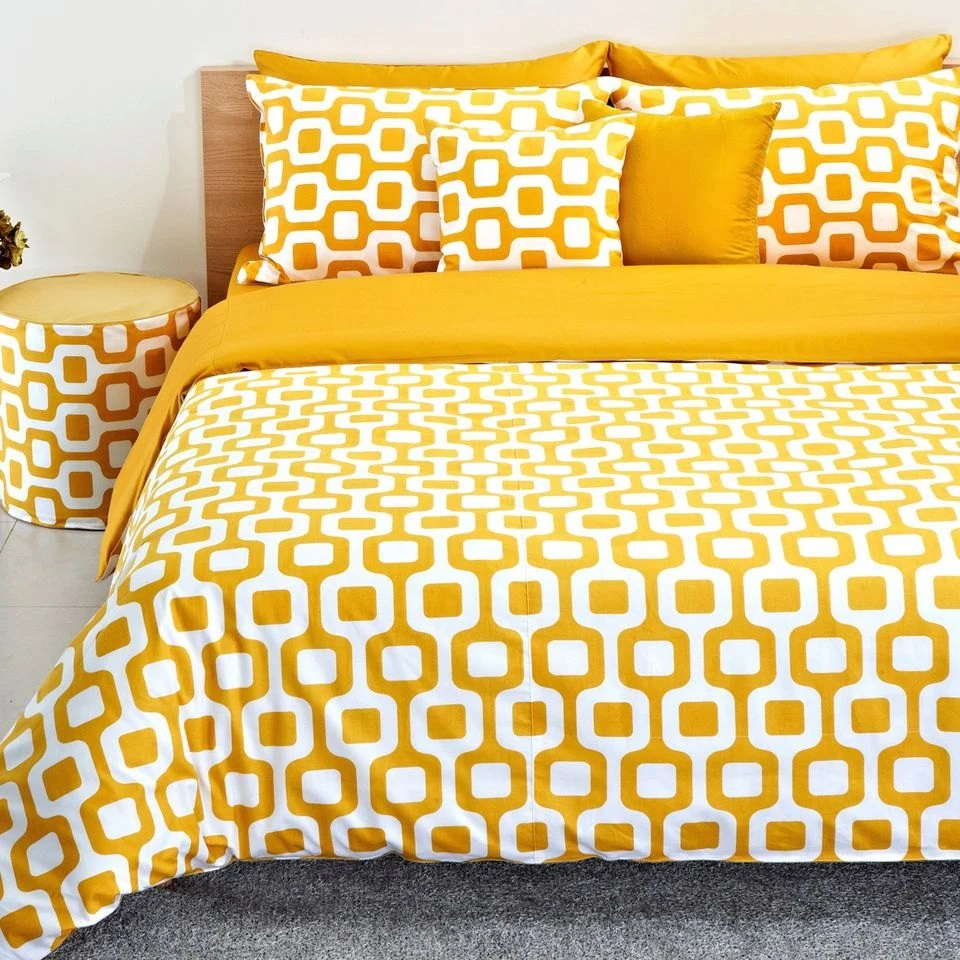 Couleur Jaune Moutarde Contemporain Moutarde Jaune Et Blanc Couette Couverture De