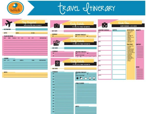 trip itinerary planner - Ozilalmanoof - vacation planning template