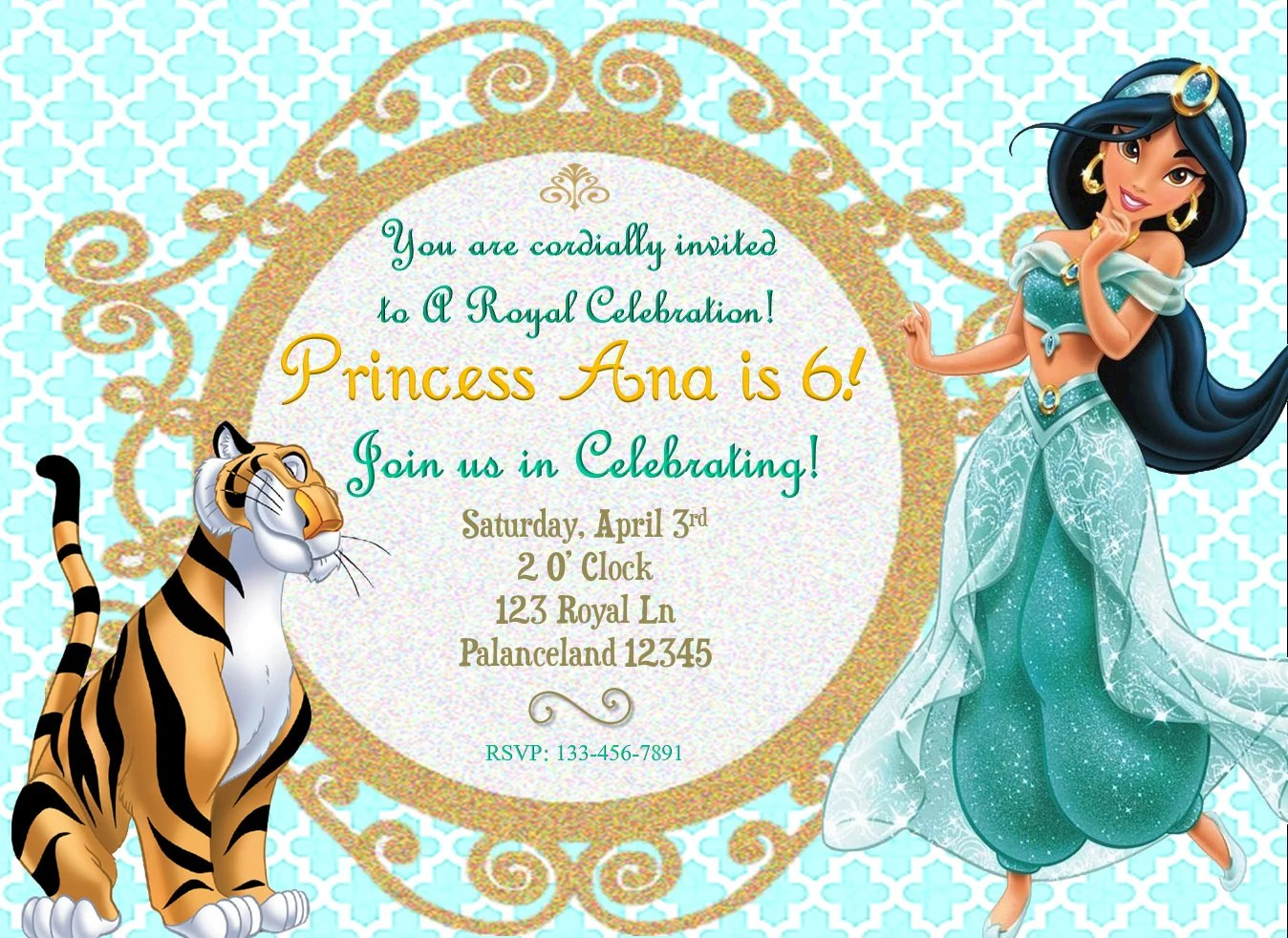 birthday invitation princess theme