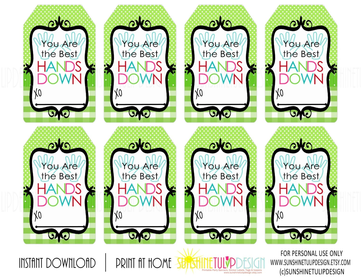 You are the Best HANDS DOWN Printable Gift Tags Buffalo Plaid