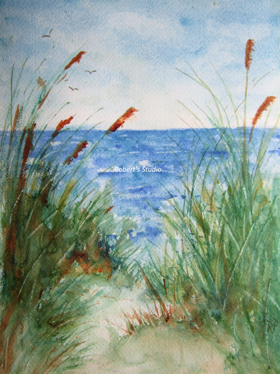 Beach Prints The Beach Print Of Original Watercolor Seascape Painting