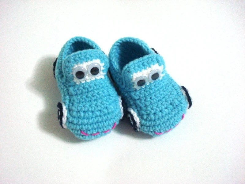 Baby Newborn Booties Baby Boy Shoes Baby Booties Cars Blue Turquoise Baby