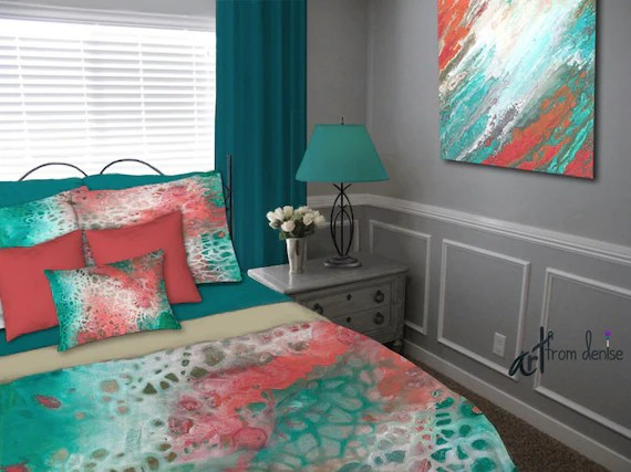 Queen Duvet Cover Only Teal Gray Aqua Coral Duvet Cover Queen King Full Twin