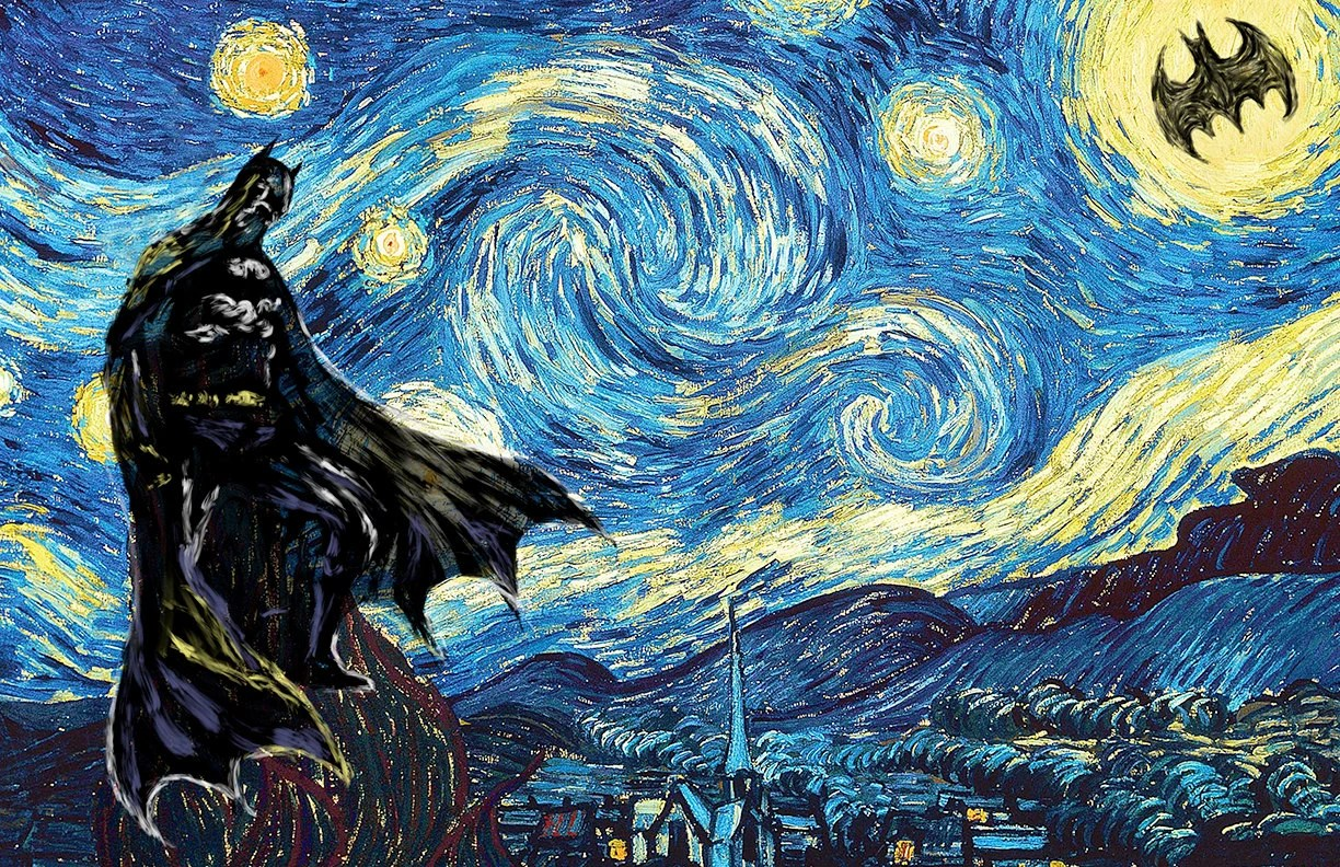 Cuadros De Vango Batman Starry Night Vincent Van Gogh Art Print Poster