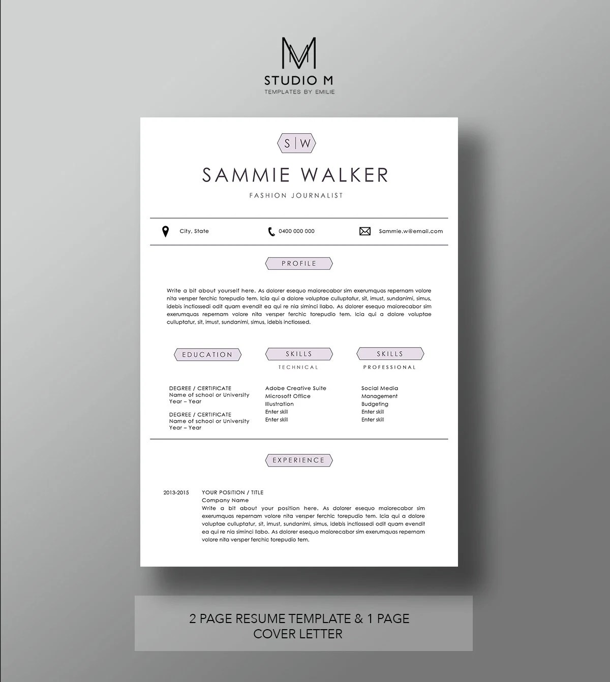 modern resume template 2 page - Juvecenitdelacabrera