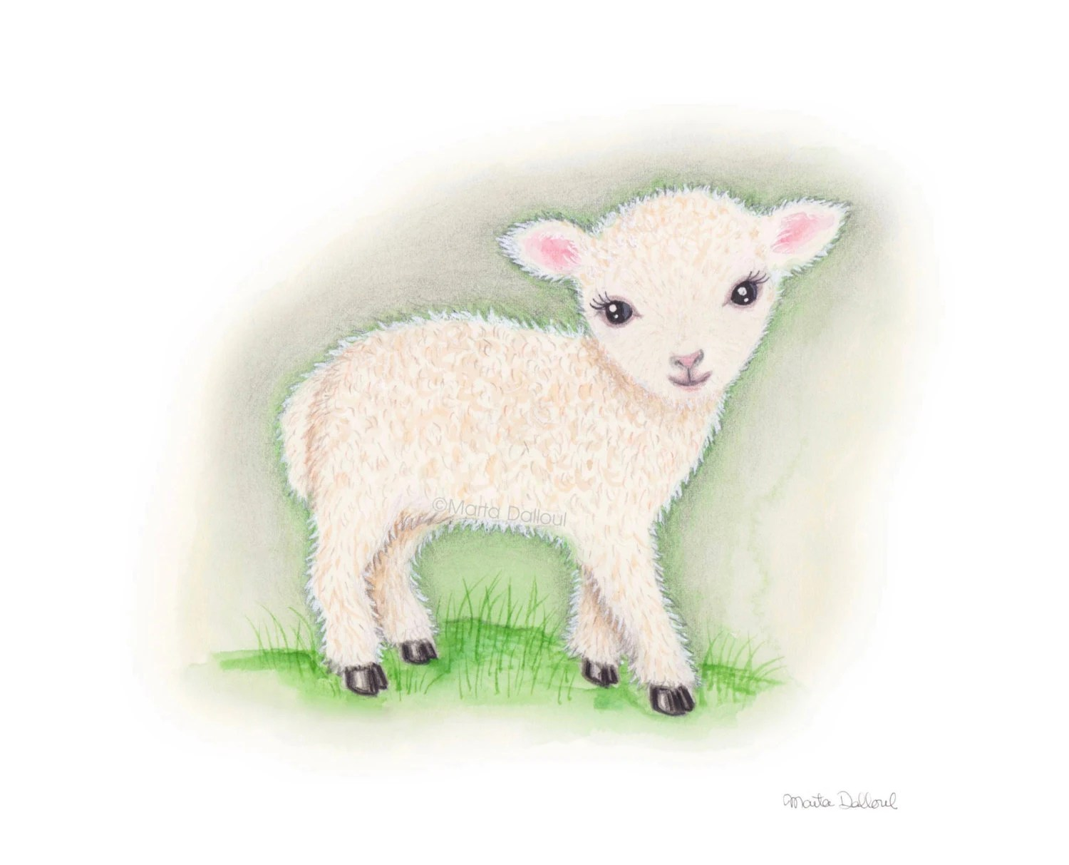 Baby Lamb Drawing Lamb Art Print Farm Barn Animal Nursery Art Kids Room Art